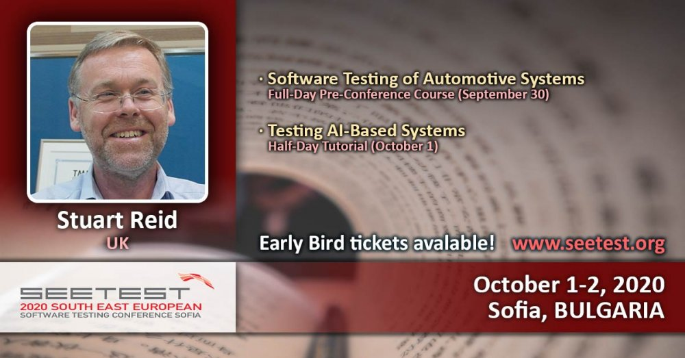 Dr Stuart Reid is the next tutorial speaker at SEETEST 2020!